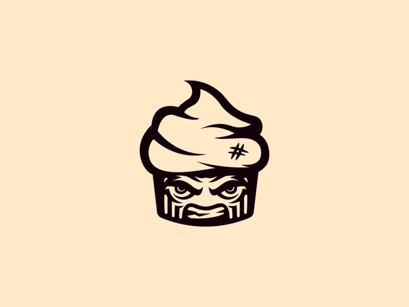 Angry Cupcake aryojj.com aryojj.xom aryojj branding mascot logo mascot angry cupcake