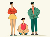 A girl in three poses