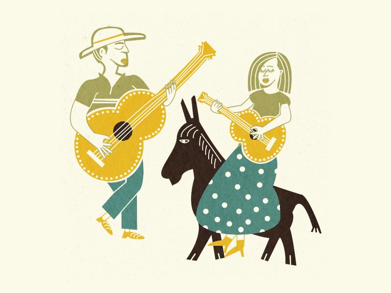 The Players music guitar folk art donkey illustration art