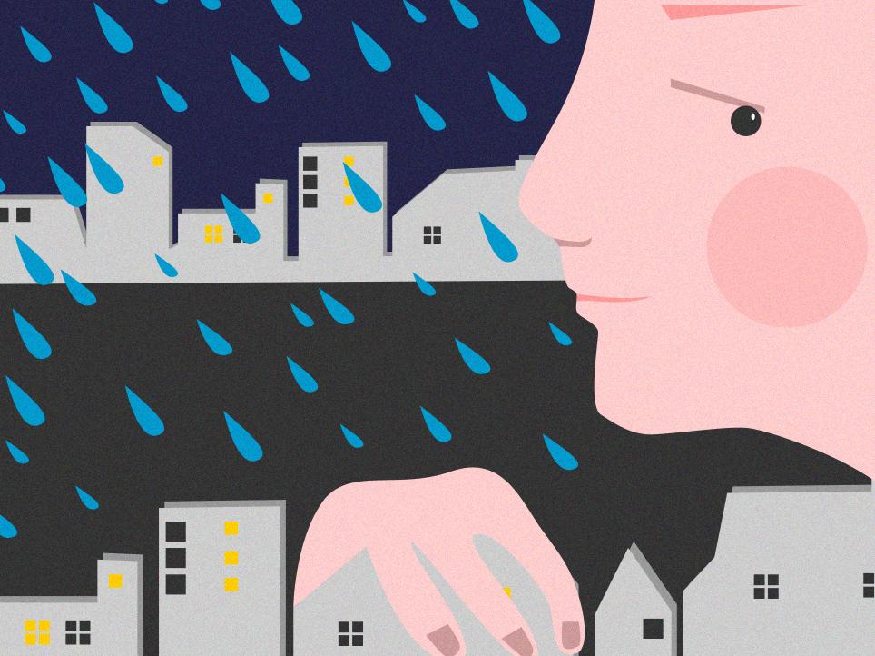 Rain in Lviv vector illustration vector art portrait illustration art illustrator