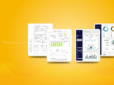 Investor Dashboard ux ui saas graphs data visualisation concept wireframe sketches draft ideation product design insights dataviz analytics