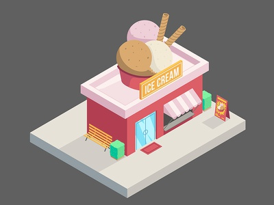 Isometric Ice Cream city illustrator art vetorial vector illustration angle isometria isometric