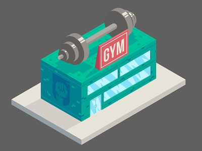 Gym city illustrator art vetorial vector illustration angle isometria isometric