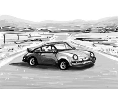 Porsche Sketch germany german desert cars carrera concept black  white 911 porsche car paint art illustration