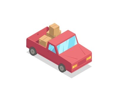 Loaded Truck delivery red neck cars trucker flat simple isometric trucks loaded content boxes box car truck