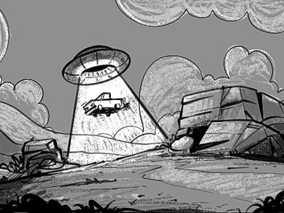 Ufo Abduction horizon environment truck spaceship ship greyscale concept art scenario abduction deser land car ufo
