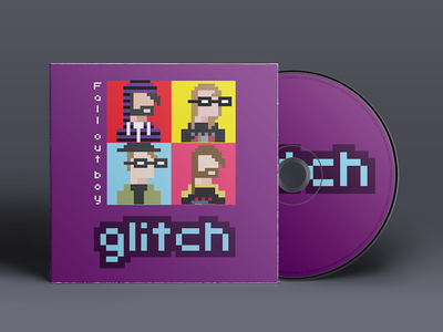 Fall Out Boy album cover pixel art illustration glitch character design music vector