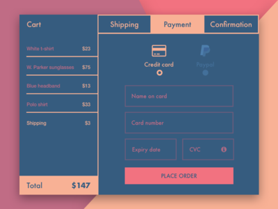 #DailyUI challenge #002 — Credit Card Checkout cart creditcard checkout concept signup ui the100dayproject dailyui minimal web form