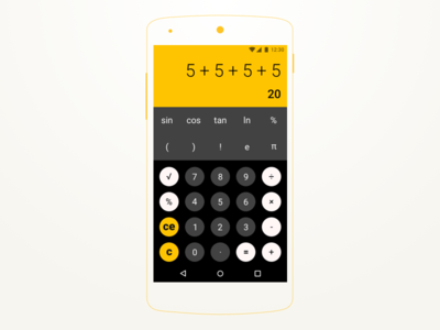 #DailyUI challenge #004 - Calculator numbers keyboard calc android the100dayproject dailyui minimal typography flatdesign roboto app ui