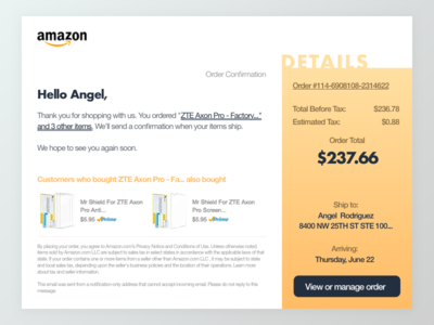 #DailyUI challenge #017 — Email Receipt futura helvetica ux gradient ui amazon financial finance email dailyui