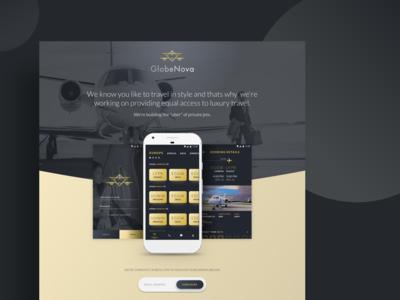 jet booking app - Landing page