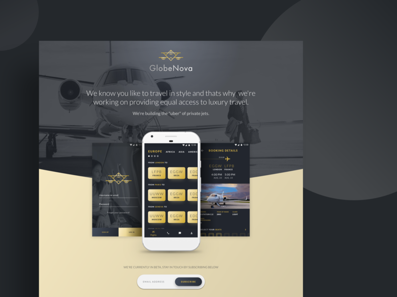 jet booking app - Landing page information architecture visual design ux design app ladingpage ui booking app jet clean android flatdesign design website web