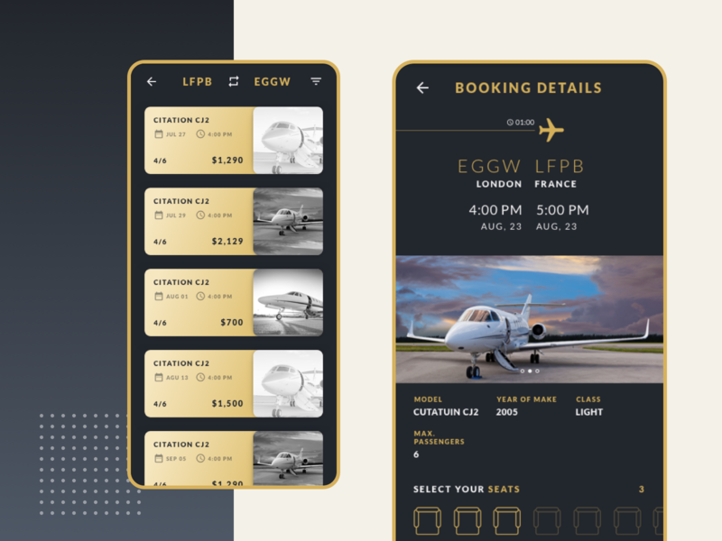 Private Jet Booking Mobile App flight booking booking app jet dark app dark background material cards ui application design application lato clean ios android flatdesign design app minimal ui