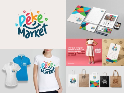 PekeMarket | Branding illustration logo design branding children friendly cheerful colorful logo smile smile kids corporate identity logo