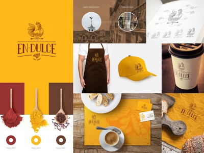En-Dulce | Branding precolonial colonial imagotype logo design friendly warm rooster chicken corporate identity bread yellow ecuador quito bakery coffee