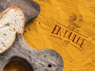 En-dulce Logo vintage warm bread logo rooster bakery
