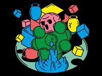 Float Skull Vase Cube