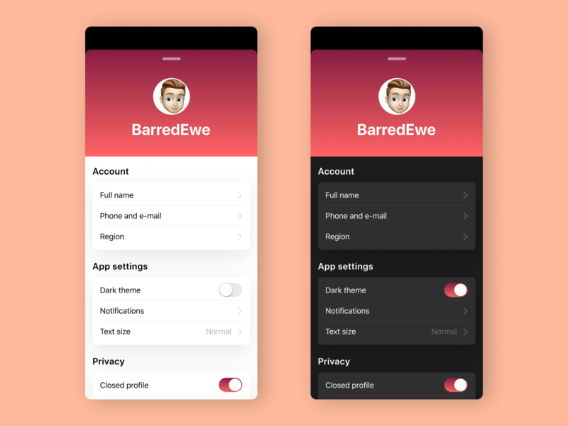 Settings dark theme ux ui ios app mobile app figma settings app ios mobile dailyuichallenge dailyui daily ui