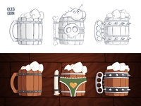 Beer Mugs cartoon funny design game illustration vector wood mug beer