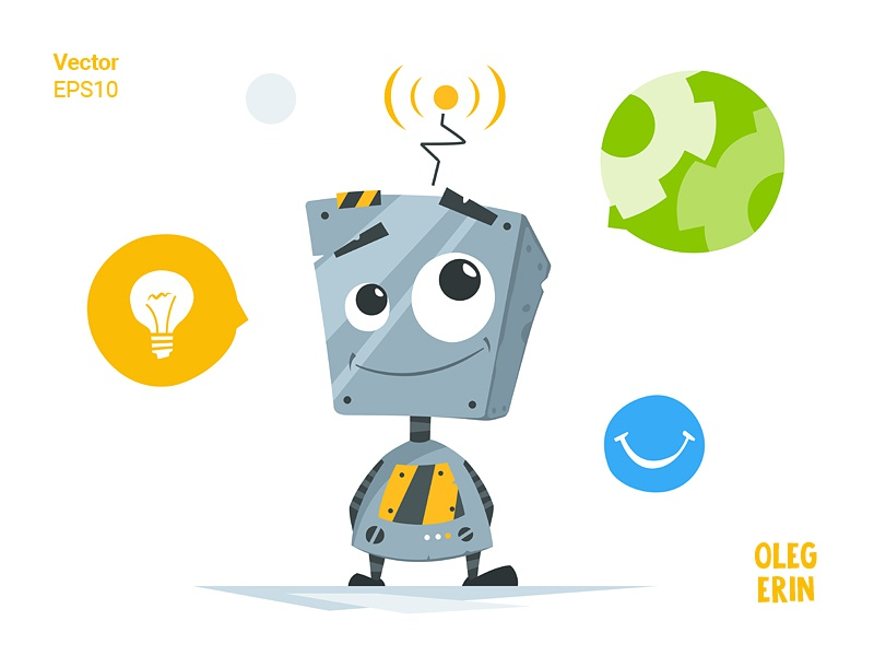 Cute little robot robot cute mascot style flat illustration illustrator artist designer design character vector