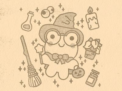 Cute witch fall autumn spooky halloween kawaii cute graphic illustrator flat design illustration