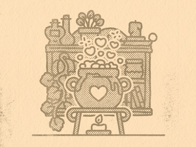 Love Potion witch autumn fall halloween kawaii cute graphic illustrator flat design illustration