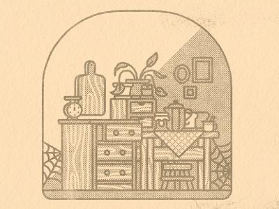 Witch's kitchen halloween autumn fall kawaii cute graphic illustrator flat design illustration