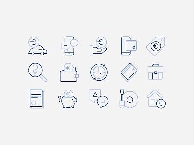 Šiaulių bankas icons linear iconography iconset icons identity design branding brand banking