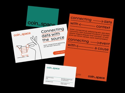 Coinspace leaflet businesscard mockup design mockups mockup crypto illustration design logotype identity brand logo branding