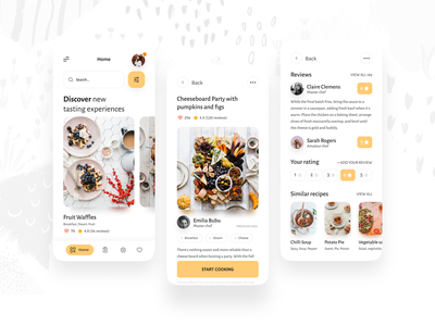 Amandine - Cooking App cooking app cooking review recipes recipe food button vector icon mobile app design ux ui