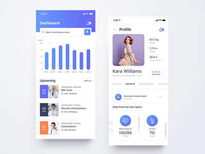 HouseMed App medical doctor appointment plan height weight temperature notification report profile health care health ux ui