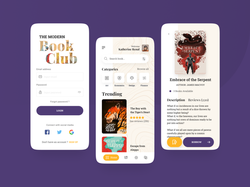 The Modern Book Club - Library App library books book vector icon design app button mobile ux ui