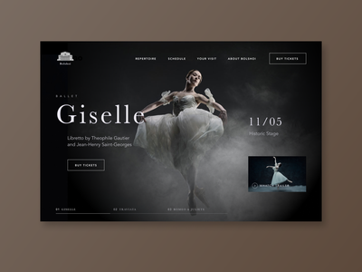 Bolshoi theatre website redesign website design website web classical ballet theatre theatrical