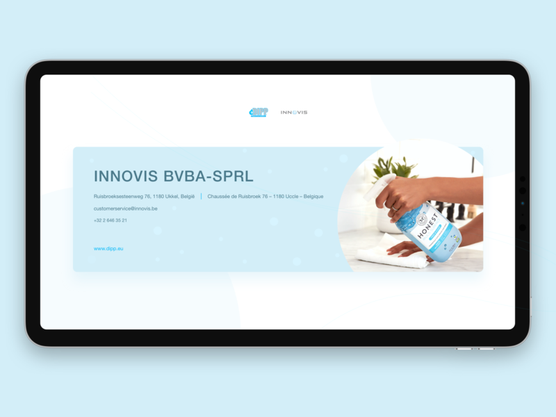 Innovis Landing Page website web webdesign responsive vue vuejs sketch ukkel uccle brussels belgium informational contact page contact information prodcuts cleaning cleaning products cleaning company landing page
