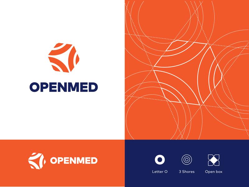 OpenMed Logo box shore sea blue orange ripples ripple openmed water letter o wave mediterranean logo branding
