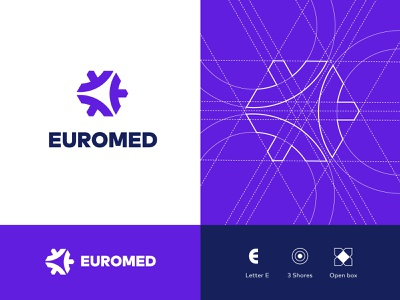 EuroMed summer school waves box open shores letter corporate branding summer school mediterranean logo branding