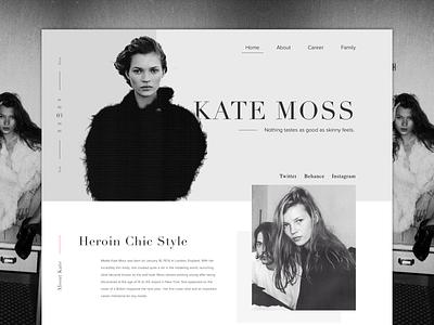 Kate Moss landing page model muse sketch app web design kate moss