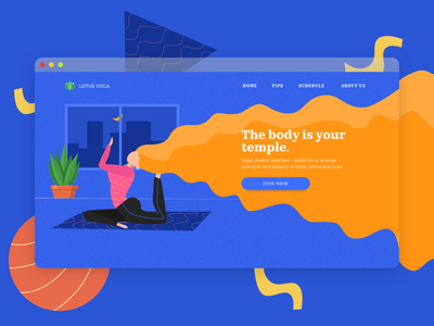 Yoga Illustration web design landing page ui design yoga webpage yoga web vector ui design illustration web design sketch app