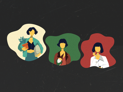 Girls with bob haircut from my favourite movies characters movie chatacter illuastration illustrator films haircut bob girls girls night pupl fiction pulpfiction amelie matilda leon