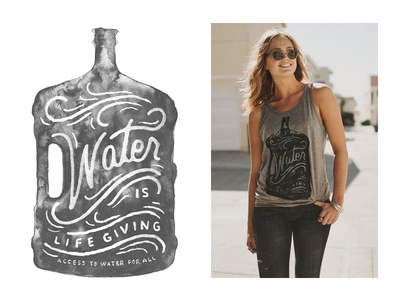 Water is Life Giving type typography hand drawn type lettering hand lettering sevenly charity generosity watercolor