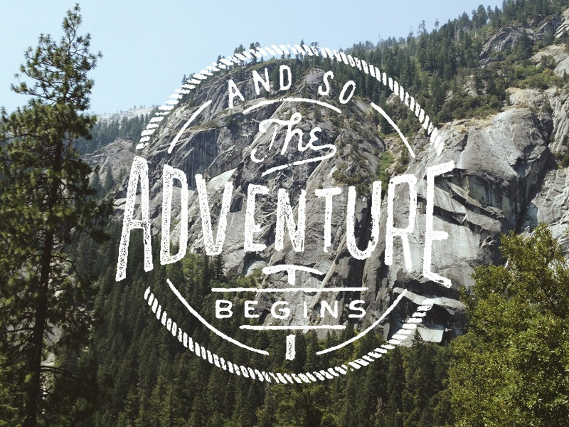 The Adventure Begins typography hand drawn type lettering logo badge rope outdoors adventure trees pick stamp