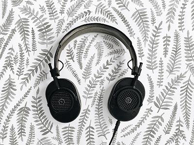 Master & Dynamic headphones illustration vine fern watercolor pattern floral