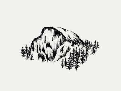 Half Dome adventure trees california illustration outdoors climbing yosemite half dome