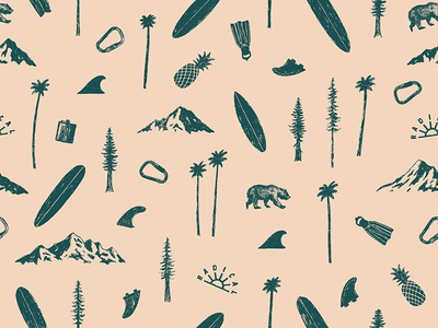 Adventure Pattern climbing adventure illustration pineapple california palm trees mountains surfboard surfing pattern