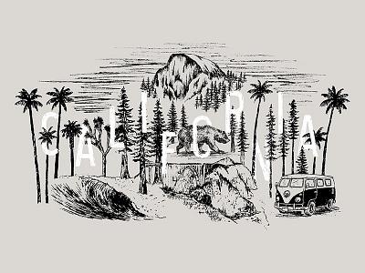 California Collage vw bus wave bear red woods palm trees yosemite climbing surfing joshua tree big sur california