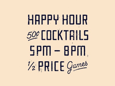 Happy Hour industrial type lettering bowling cocktails cocktail screen print vintage superior textures