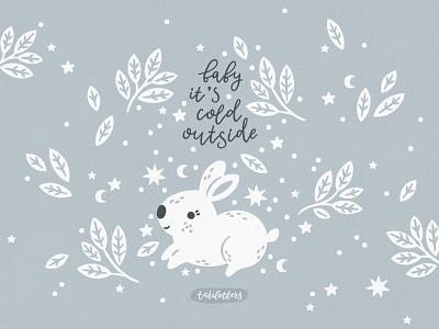 Christmas bunny fabric design textile design advent calendar kids fashion baby animals design seamless pattern vector baby kids children illustration christmas animals christmas card