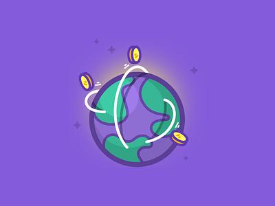 Keybase + Stellar illustration purple coins earth lumens stellar keybase