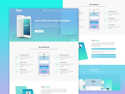 Appe - Business App Onepage Template portfolio photography personal parallax one page modern marketing landing page display creative contact clean