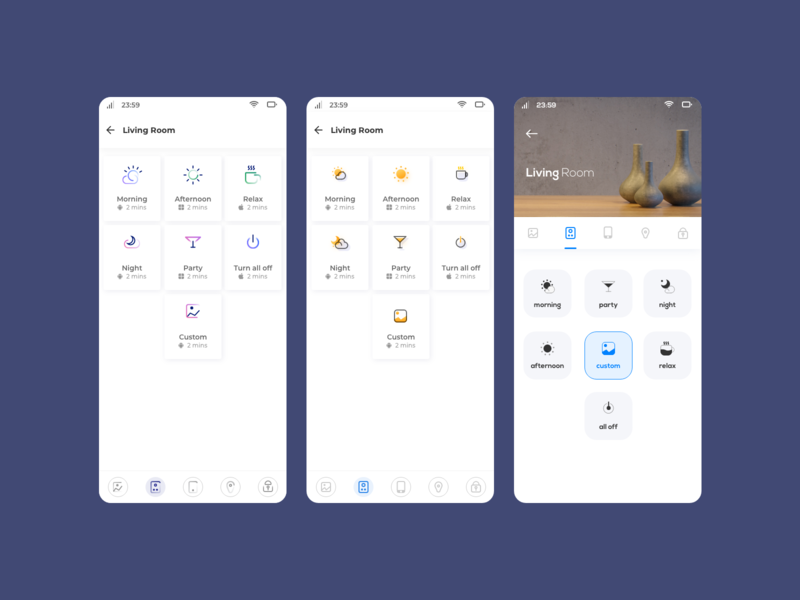 Evolution gradient categories scenes party icons smartphone app smart home living room header menu cards line icons branding styles icons trending design smart home app interior app mobile app uiux ui